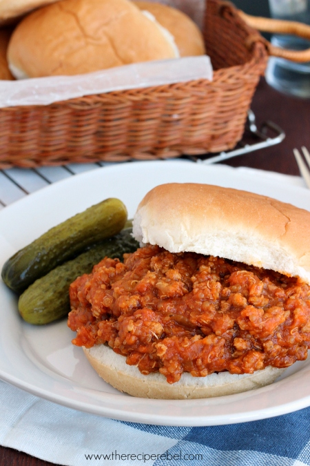 {Slow Cooker} BBQ Chicken Quinoa Sloppy Joes www.thereciperebel.com 3