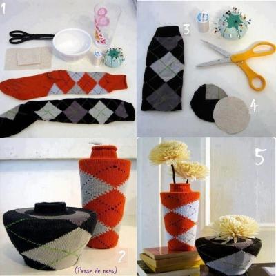sock-vase-cover-reuse-repurpose